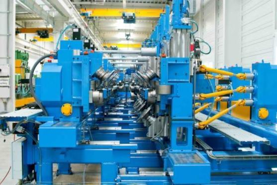 P21 roll forming machine for production of dry-lining profiles, cable ducts, switch cabinet side pieces or shelving posts.