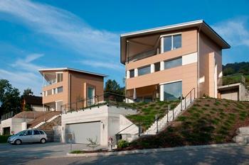 Produit: Reynobond® Architecture, Façade en aluminium composite maison résidentielle Système de fixation: système de rivets peints