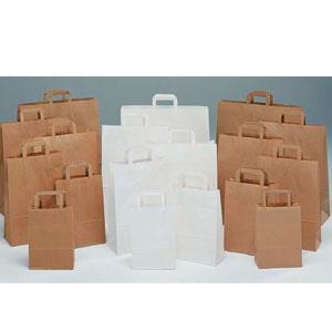 Bolsas de papel kraft liso marrón, papel celulosa blanca y papel verjurado marron. Bolsa de papel sin impresión. Bolsa de papel con asa plana.
