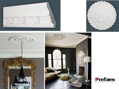 CORNICES, CEILING ROSES, PLASTER BUILDING MATERIALS AT PREFAES