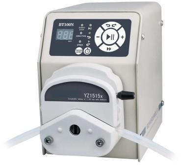 """basic peristaltic pump single channel with stepper motor 230V,50/60Hz. """"Easy load"""" pump head for simple change of hose. Speed range 1-600rpm, external control via analogue signal, interface RS485"""