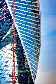 It is one of the most prominent skyscrapers of Moscow city. Total square - 168 000 sq.m., hight - 54 floors. Each floor twists 3° in relation to preceding one, totaling 135°. Gorproject -Gen. Designer