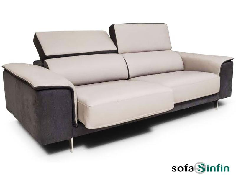 Sofas relax upholstered in leather and fabric