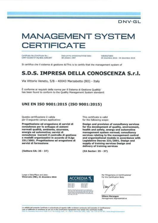 Campo applicazione: Progettazione ed erogazione servizi di consulenza per lo sviluppo di sistemi di gestione normati. Progettazione ed erogazione servizi di formazione.              Settore EA 35 - 37