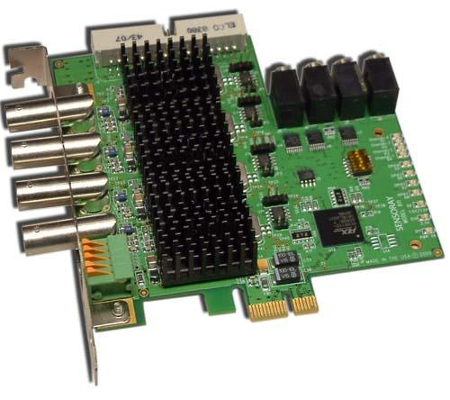 4-Channel Frame Grabber with Audio Capture. Model 811 is a PCI Express board that simultaneously captures four channels of analog NTSC/PAL video and four channels of stereo audio.
