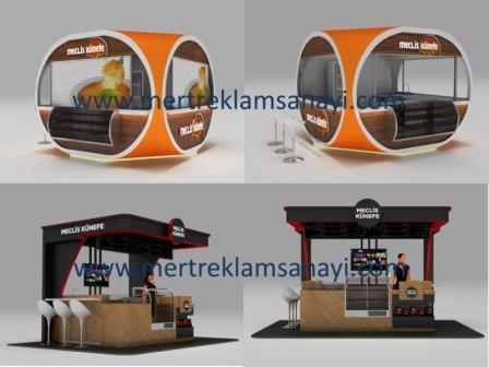 Verkaufsstand/ Kiosk für Innenbereiche. Geeigent für  Lebensmittel und Getraenke oder auch als Accessoires und Schmuckstand. Masse: L3,50m x B2,40m x H2,70m.                   by Mert Reklam Sanayi