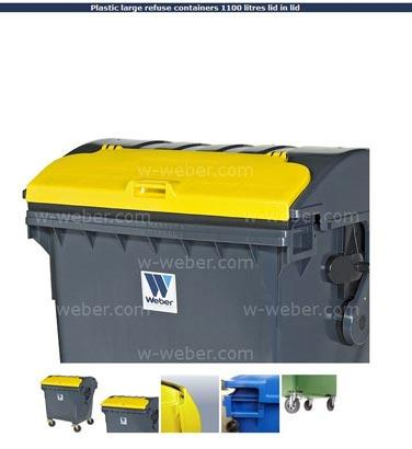 Plastic refuse containers 1100 litres lid in lid