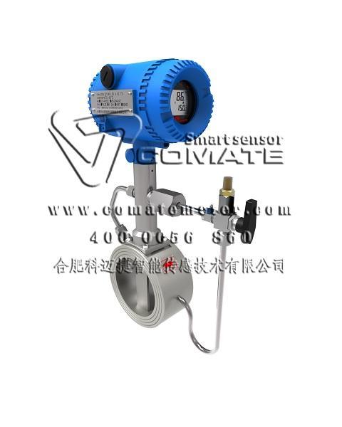 Wafer type gas flow vortex street flow meters