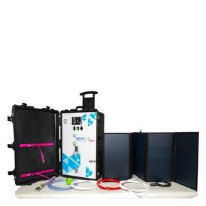 Potabilizadora autónoma y portátil 0.0001µm - hasta 70L/hora con membranas de Osmosis inversa - solar/12-48Vdc/red