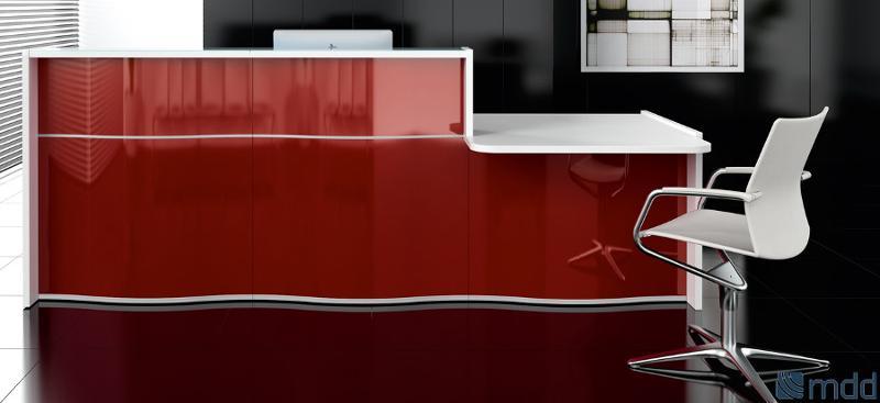 Sistema modular ajustable a cualquier área de recepción que une funcionalidad y estética. Frontal disponible en 4 colores. La inspiración marina de WAVE aportará un soplo de brisa a su recepción
