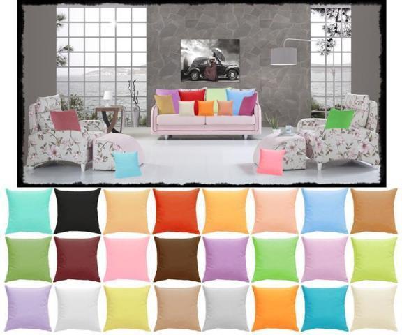 Baumwolle Kissen und Kissenbezüge , über 25 Uni-Farben und mehr als 20 Größen mit Reißverschluss oder Hotelverschluss.