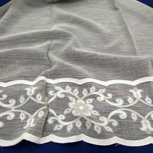 300 cm width,  embroidery,linen look base, poly.