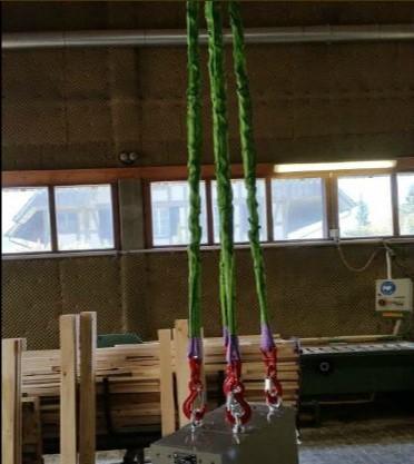 Textile Anschlagmittel, nämlich maschinengefertigte Rundschlingengehänge, welche ohne Ovalringe und Textilkuppler auskommen. Erhältlich 2-strangig und 4-strangig