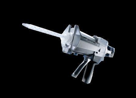 Pistolets d'application de colle pour cartouches bi-composants de 50ml à 400 ml tous ratios, manuels ou pneumatiques. Des pistolets pour cartouches mono composants sont également disponibles.