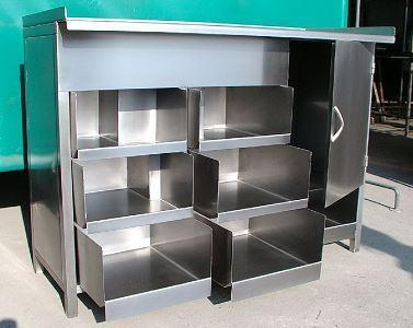 The stainless-steel commercial kitchen furniture.