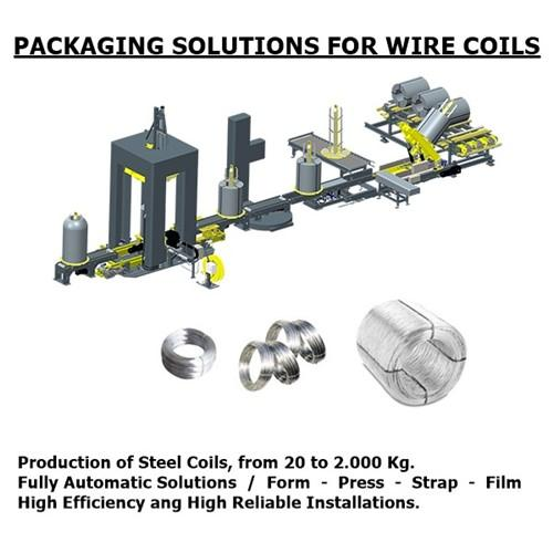 Packaging Lines for Wire Coils   /   Lines for produce smail coils (20 to 400 Kg.)   /    Lines to compact and strap bulk wire coils (300 to 1500 Kg.)   /  http://www.witech.com/en/steel-fiber-machine