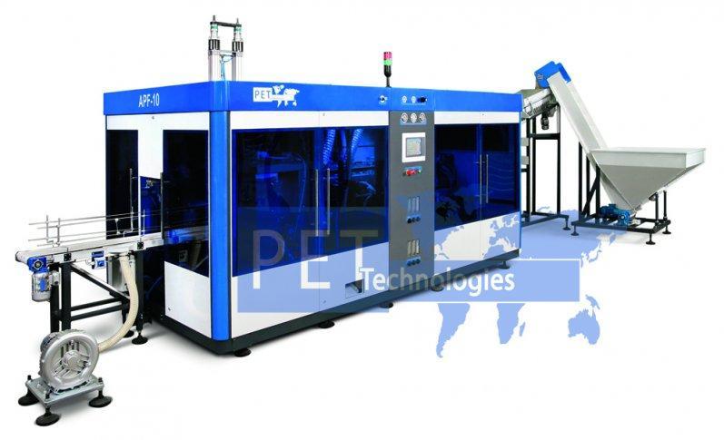 Máquina sopladora automática para fabricación de garrafones de  3-10 l. La producción de la máquina es 2500 bph de 5 litros, 1800 bph de 10 litros.