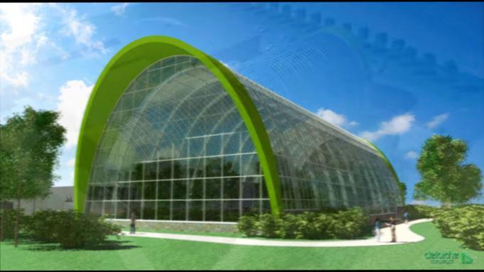 El parque de mariposas es una construcción de acero y cristal con formas elípticas y una altura de 18,3 m que realza la perspectiva visual del complejo de ocio.