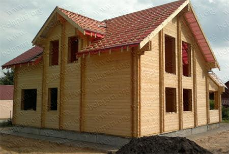 Manufacturing and construction of wooden cottages from double profiled timber.