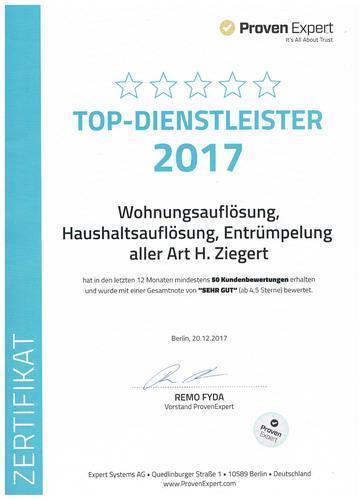 """Zertifikat """"TOP DIENSTLEISTER 2017"""""""
