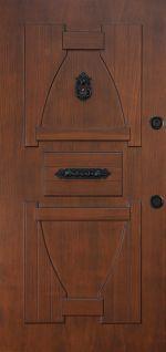 Frame: 2mm DKP iron sheet, Door leaf: 1,5 mm DKP + corrugated iron sheets, Door striker plate:  4 mm DKP, Glass wool:for heat and noise insulation, Barrel protector caps: Hardened steel, wood veneered