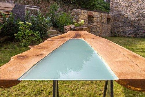 Eiche Tischplatte mit Glas - Astgabel