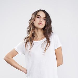 Woman asymmetric modal shirt