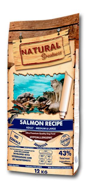 Hypoallergenic recipe with only one source of protein Salmon human grade and potato, ideally developed for adult dogs with sensitive digestion or for dogs that require a diet  free of cereal. In formu