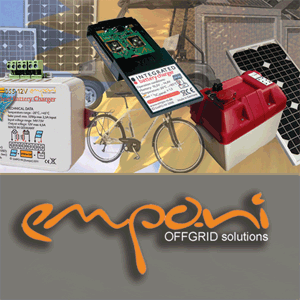 Products vo EMPO-NI, solar chargers and applications for off-grid like MPPT Solar Charger,  SOL-1, solar panel integrated Charger SOLmini, and SOlmini Golf, for Golf Carts.