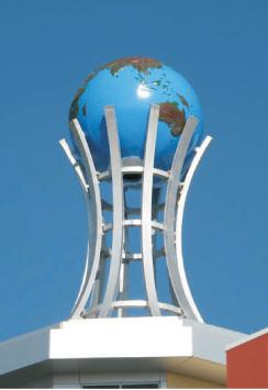 3 mt. çapında fiberglass ( çelik konstrüksiyon takviyeli ) dünya.World fiberglass.