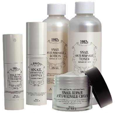 Snail skin care line made from snail mucus boost skin renewal and restore skin elasticity providing intensive hydration