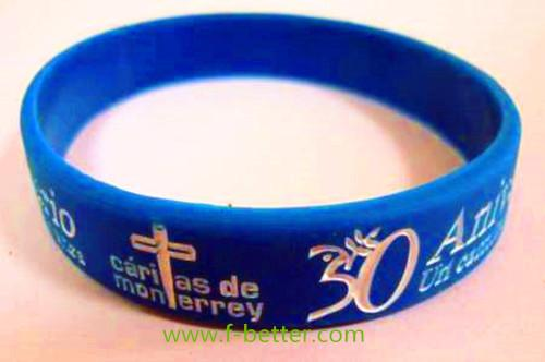 personalized one color filled silicone wristbands