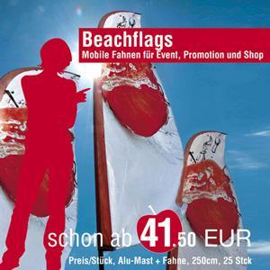 Beachflags in verschiedenen Größen und Ausführungen. Für jeden Einsatz die richtige mobile Werbefahne. Beste Preise und beste Qualität.
