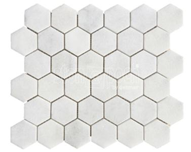 "2"" Hexagon Carrara Extra Polished Mosaic"