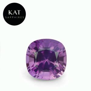 Beautiful 1.79ct Unheated Square Cushion Pinkish Purple Madagascar Sapphire. Gorgeous color and great life to this stone.