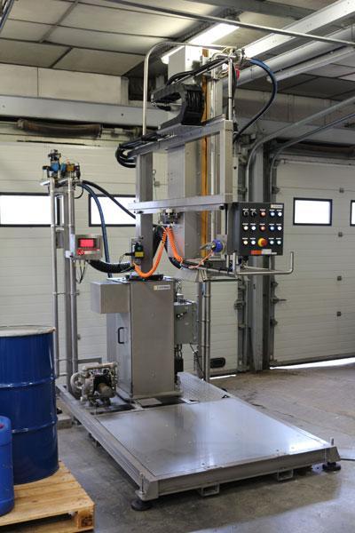SKid d'enfûtage et de désenfûtage vidange et remplissage de fûts et container en zone ATEX