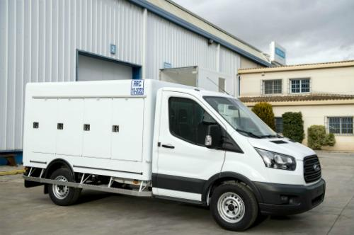 Refrigerated body on Ford Transit chassis.