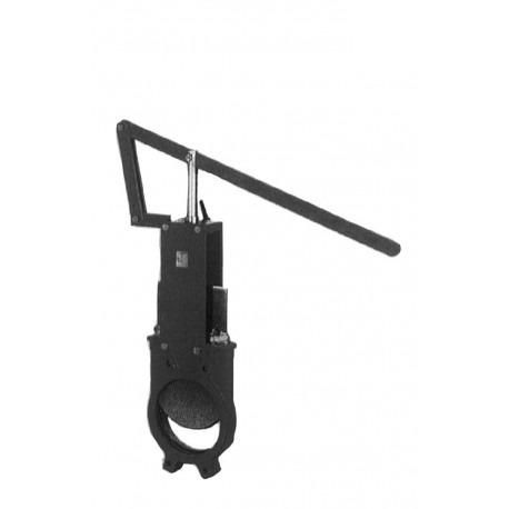 Vanne guillotine A LEVIER - corps fonte & pelle inox