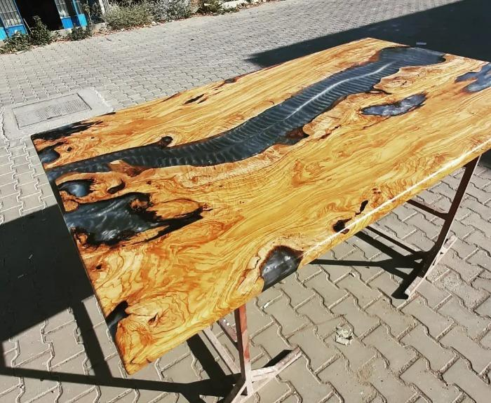 Olive tree epoxy table