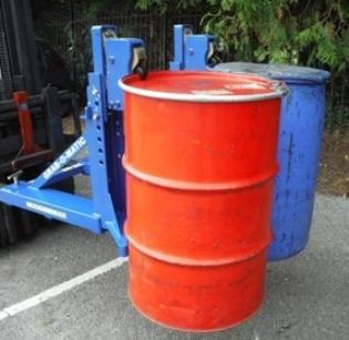2-DLR Fork Attachment with Steel and plastic 'L' ring drums. The drums are grabbed on the top rim and will not release until set to the ground.
