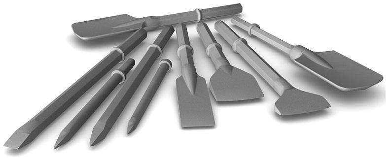 Notre fournisseur: THOMAS TURTON. Nous proposons une large gamme de pics, burins, pelles étroites et larges, ... pour tous types de marteaux avec des emmanchements types hexagonaux, SDS, ronds ...