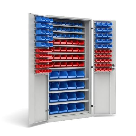 Workshop cabinets with solid structure. Doors are mounted on solid external hinges. Mounting rails inside make it possible to add a wide variety of additional accessories.