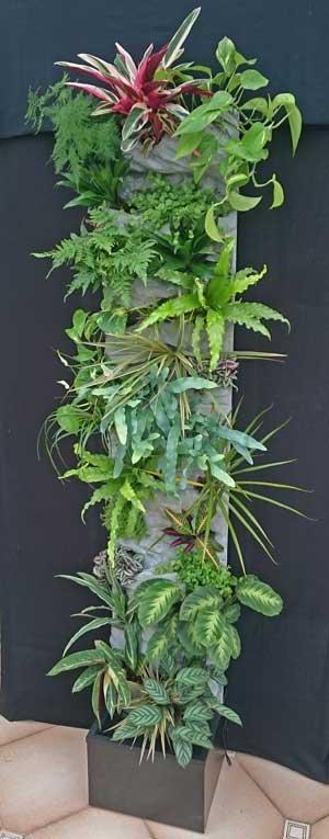 mur végétal en colonne hauteur 220 largeur 40, sur décor polyester, avec irrigation automatique intégré.