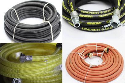 Mörtelschläuche, Wasserschläuche, Luftschläucher und Förderschläuche für Putzmaschinen und Estrichmaschinen von der Marke Semperit.