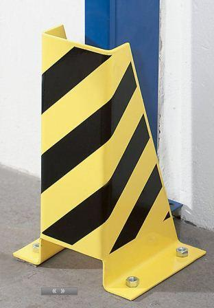 The use of this type of crash protection guard is compulsory for permanently located shelving which is used in conjunction with transport vehicles. Made of steel with black/yellow warning stripes.