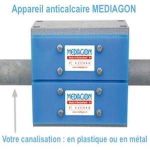 Procédé magnétique sans chimie qui n'attire pas le métal donc aucun risque de colmatage. Sans chimie, sans électricité, sans maintenance, MEDIAGON remplace avantageusement l'adoucisseur à sel.