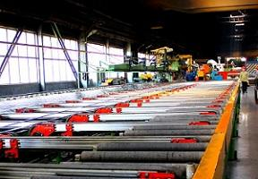 This picture shows one of the eight press lines of Donetsk plant of aluminium profiles.