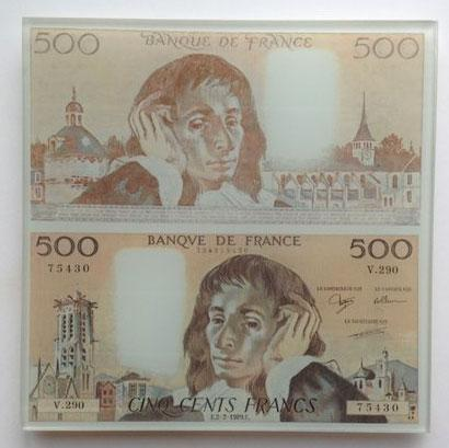 Billet de 500 Francs Pascal - Dessous de plat en verre trempé