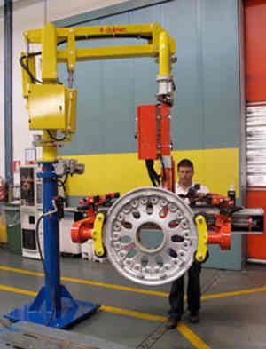 Manipulateur pneumatique modèle PEC sur colonne équipé d'un outil  de préhension à pince pneumatique adapté pour la prise et le basculement de roues d'avions de dimensions variables