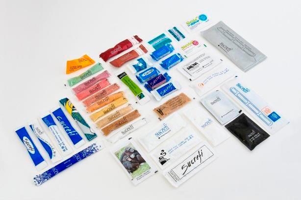 Sobres de azúcar, sticks, piramides, con cucharilla. Multiples formatos en diferentes gramajes. Todos personalizables.